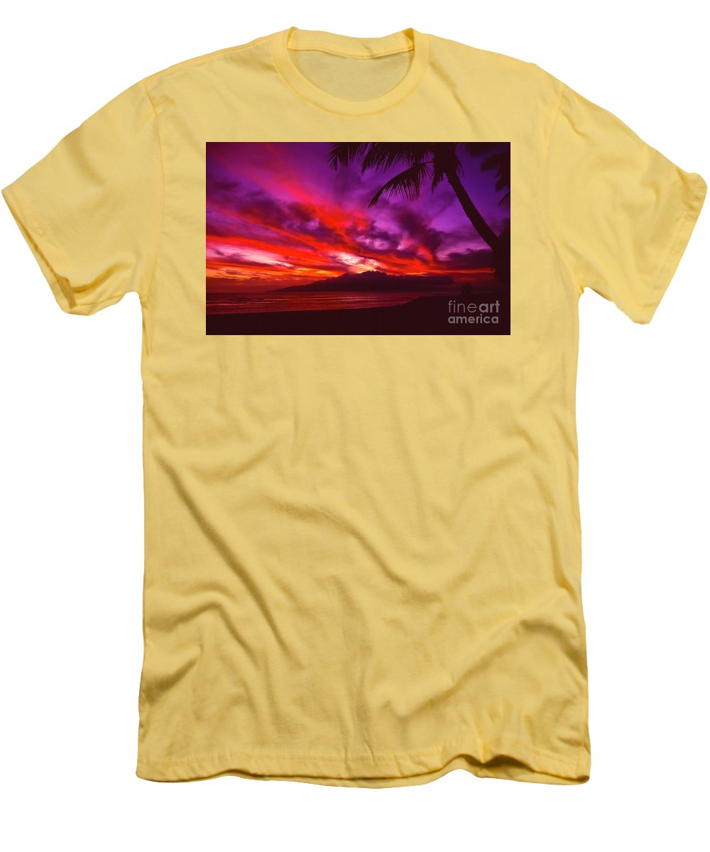 Landscapes Men's T-Shirt (Athletic Fit) featuring the photograph Hand Of Fire by Jim Cazel