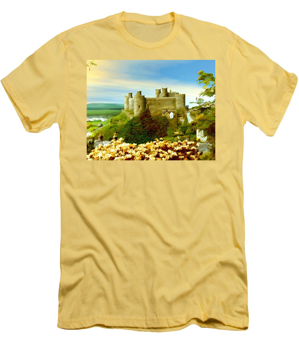 Castles Men's T-Shirt (Athletic Fit) featuring the photograph Harlech Castle by Kurt Van Wagner