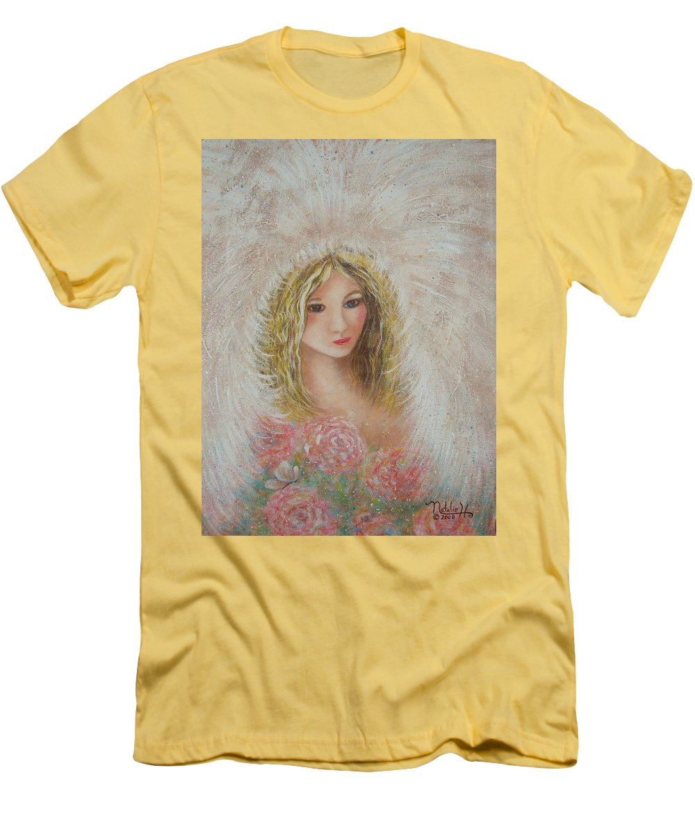 Angel Men's T-Shirt (Athletic Fit) featuring the painting Heavenly Angel by Natalie Holland