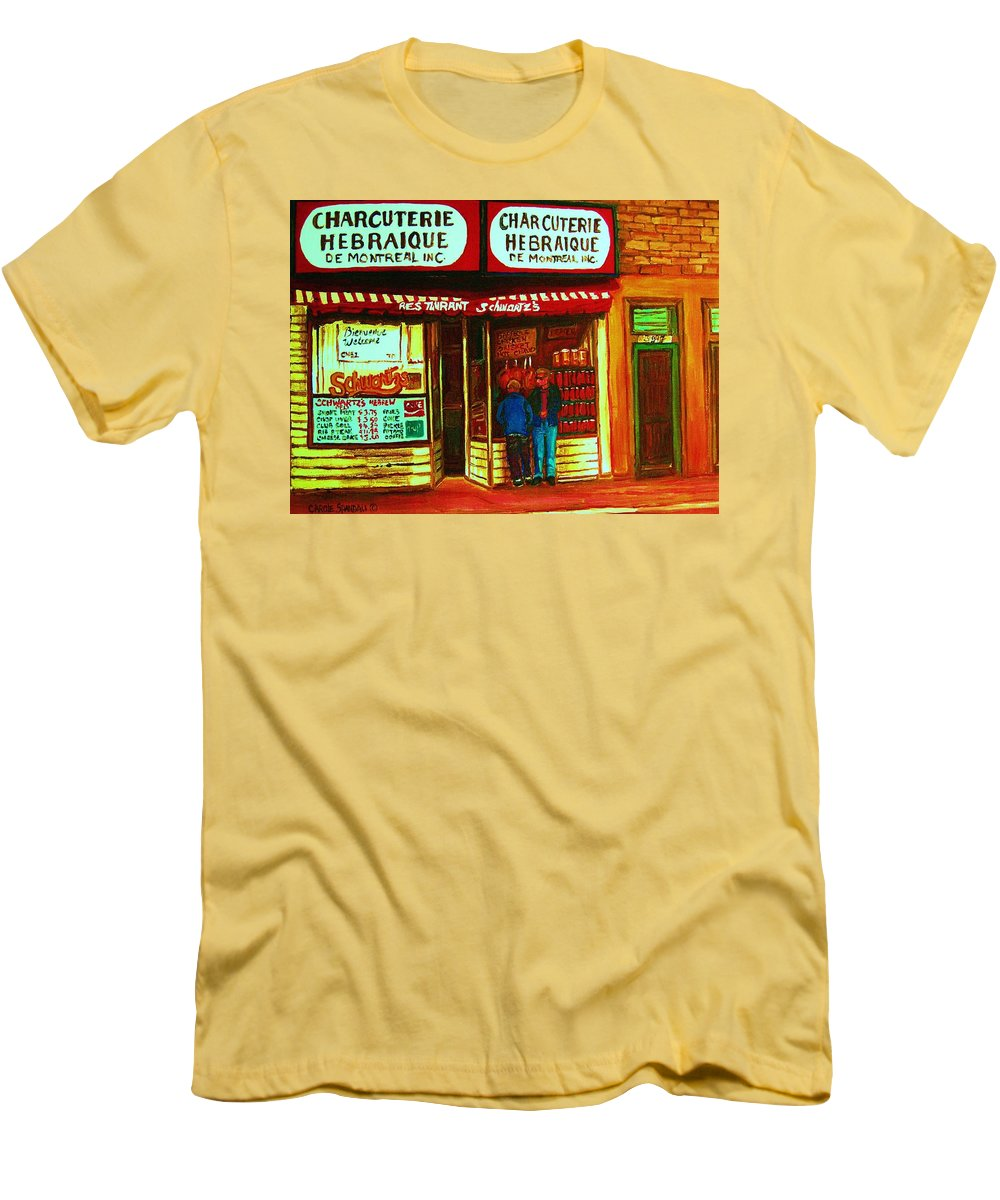Schwartzs Men's T-Shirt (Athletic Fit) featuring the painting Hebrew Delicatessen by Carole Spandau