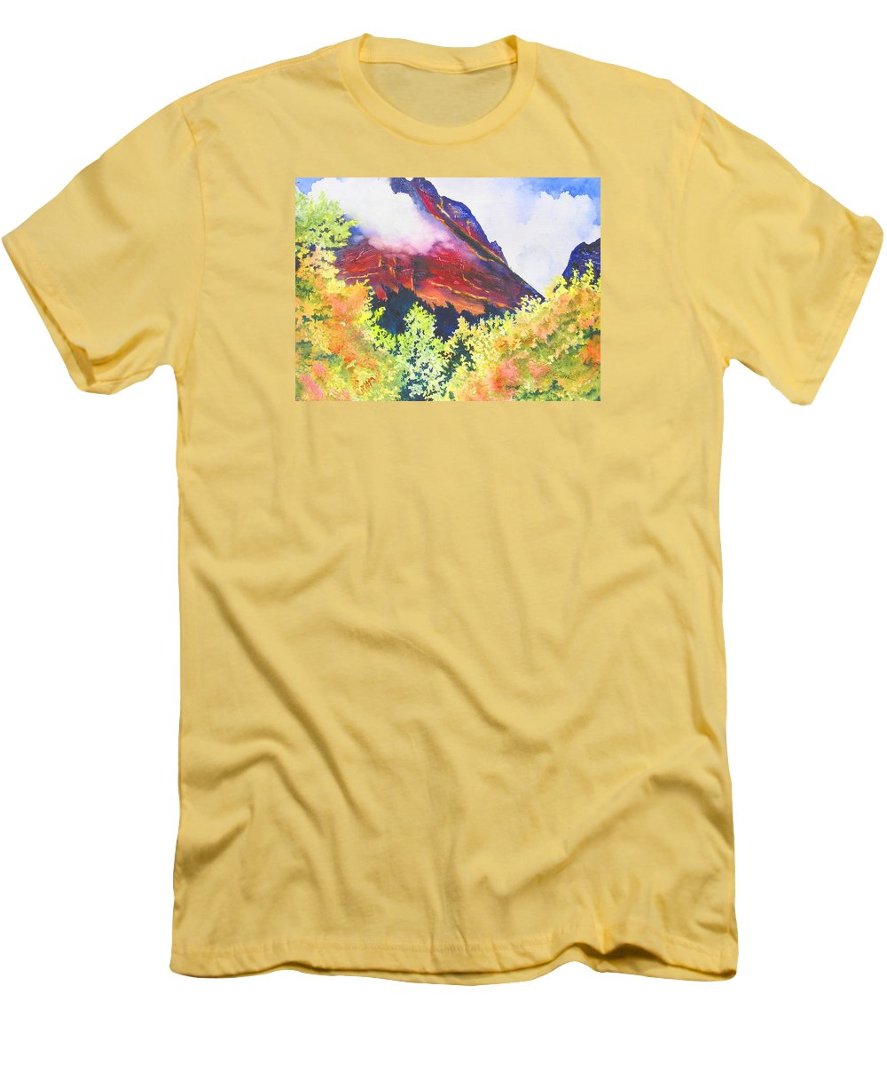 Mountain Men's T-Shirt (Athletic Fit) featuring the painting Heights Of Glacier Park by Karen Stark