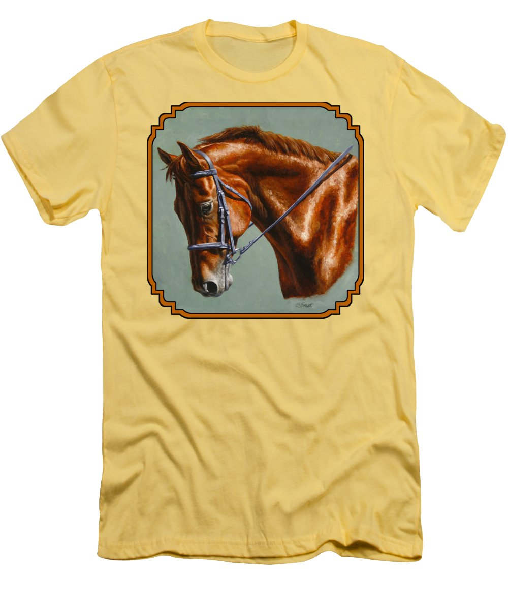 Horse Men's T-Shirt (Athletic Fit) featuring the painting Horse Painting - Focus by Crista Forest