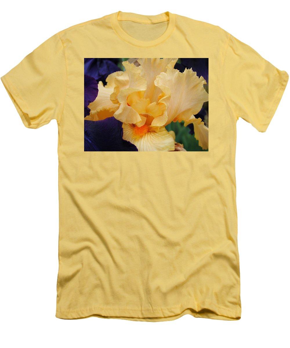 �irises Artwork� Men's T-Shirt (Athletic Fit) featuring the photograph Irises Art Prints Peach Iris Flowers Artwork Floral Botanical Art Baslee Troutman by Baslee Troutman