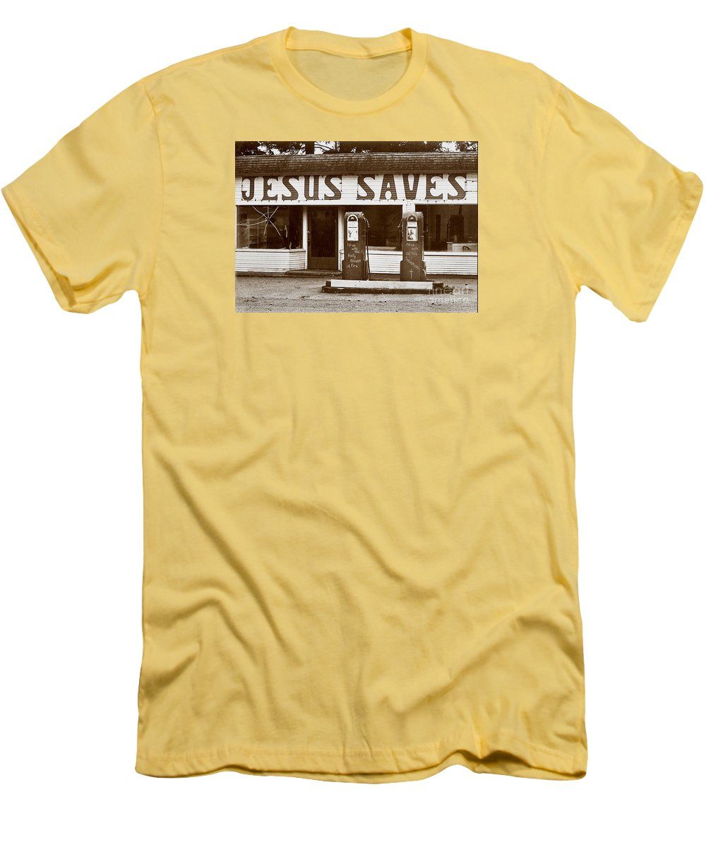 Jesus Men's T-Shirt (Athletic Fit) featuring the photograph Jesus Saves 1973 by Michael Ziegler