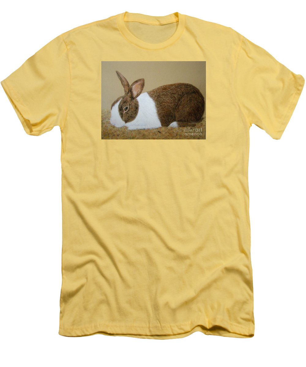 Bunny Men's T-Shirt (Athletic Fit) featuring the painting Les's Rabbit by Lynn Quinn