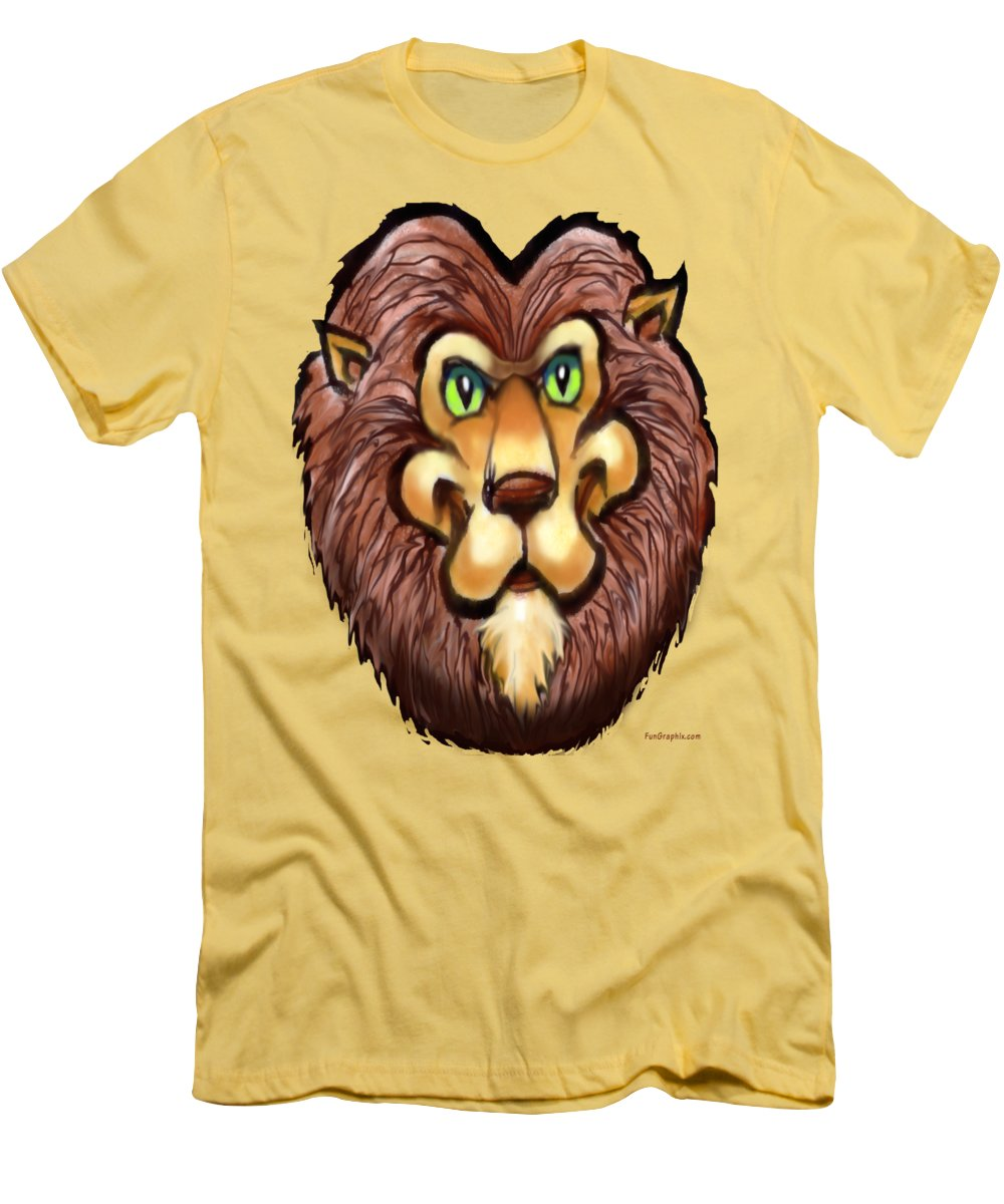 Lion Men's T-Shirt (Athletic Fit) featuring the painting Lion by Kevin Middleton