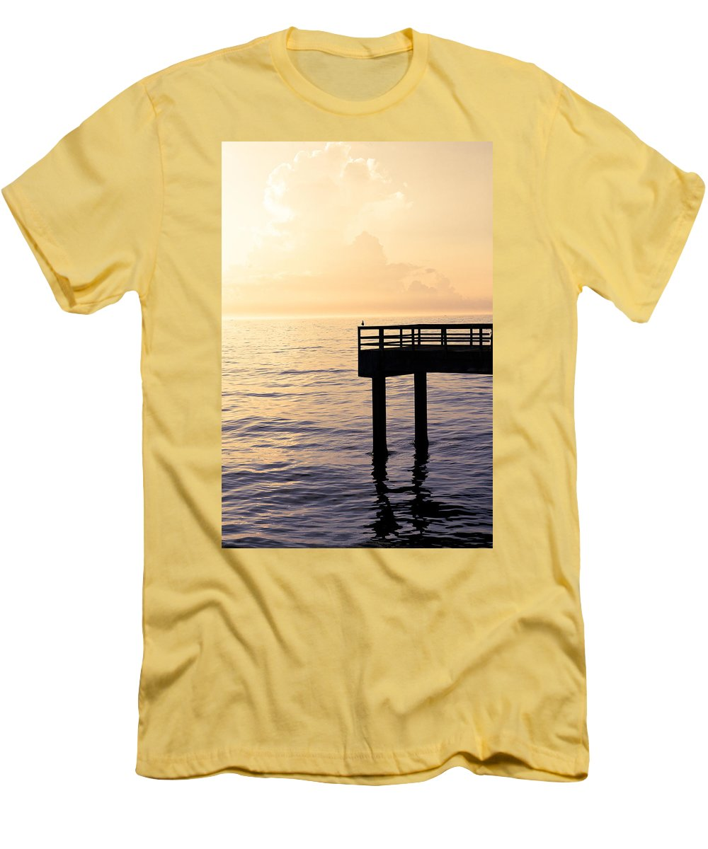 Beach Men's T-Shirt (Athletic Fit) featuring the photograph Lone Bird At Morning by Marilyn Hunt