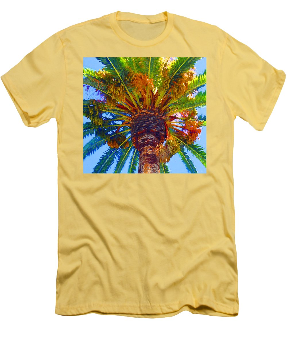 Garden Men's T-Shirt (Athletic Fit) featuring the painting Looking Up At Palm Tree by Amy Vangsgard