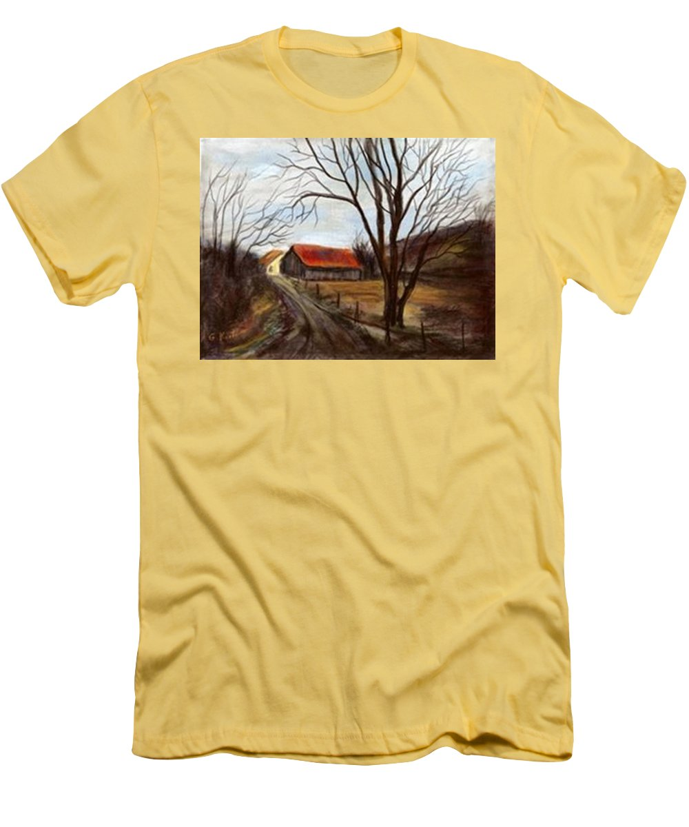 Barn Men's T-Shirt (Athletic Fit) featuring the painting Louisa Kentucky Barn by Gail Kirtz