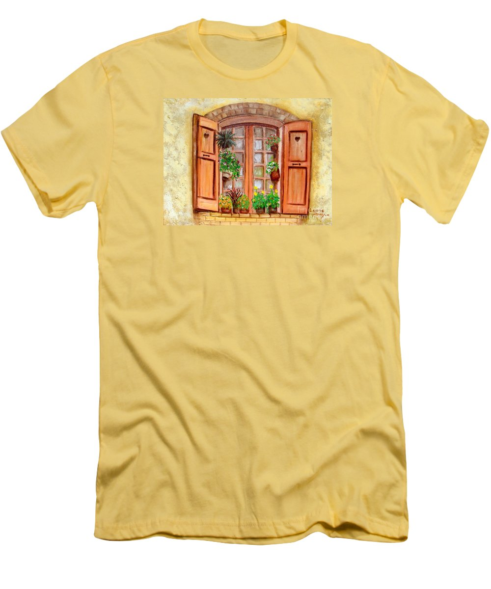 Windows Men's T-Shirt (Athletic Fit) featuring the painting Love Nest by Laurie Morgan
