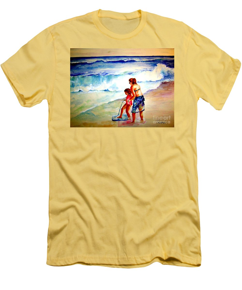 Beach Surf Men's T-Shirt (Athletic Fit) featuring the painting Making A Memory by Sandy Ryan