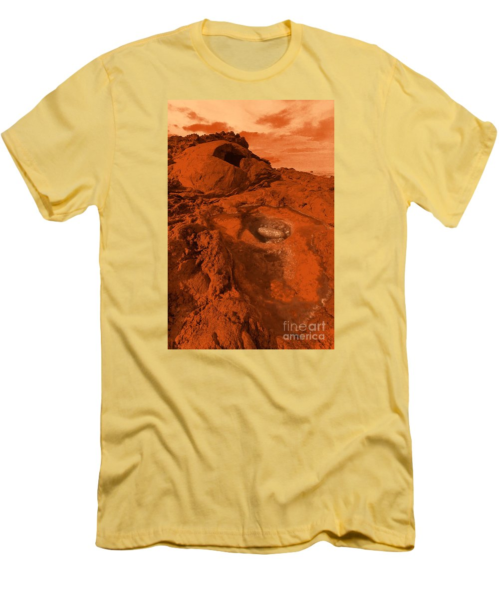 Alien Men's T-Shirt (Athletic Fit) featuring the photograph Mars Landscape by Gaspar Avila