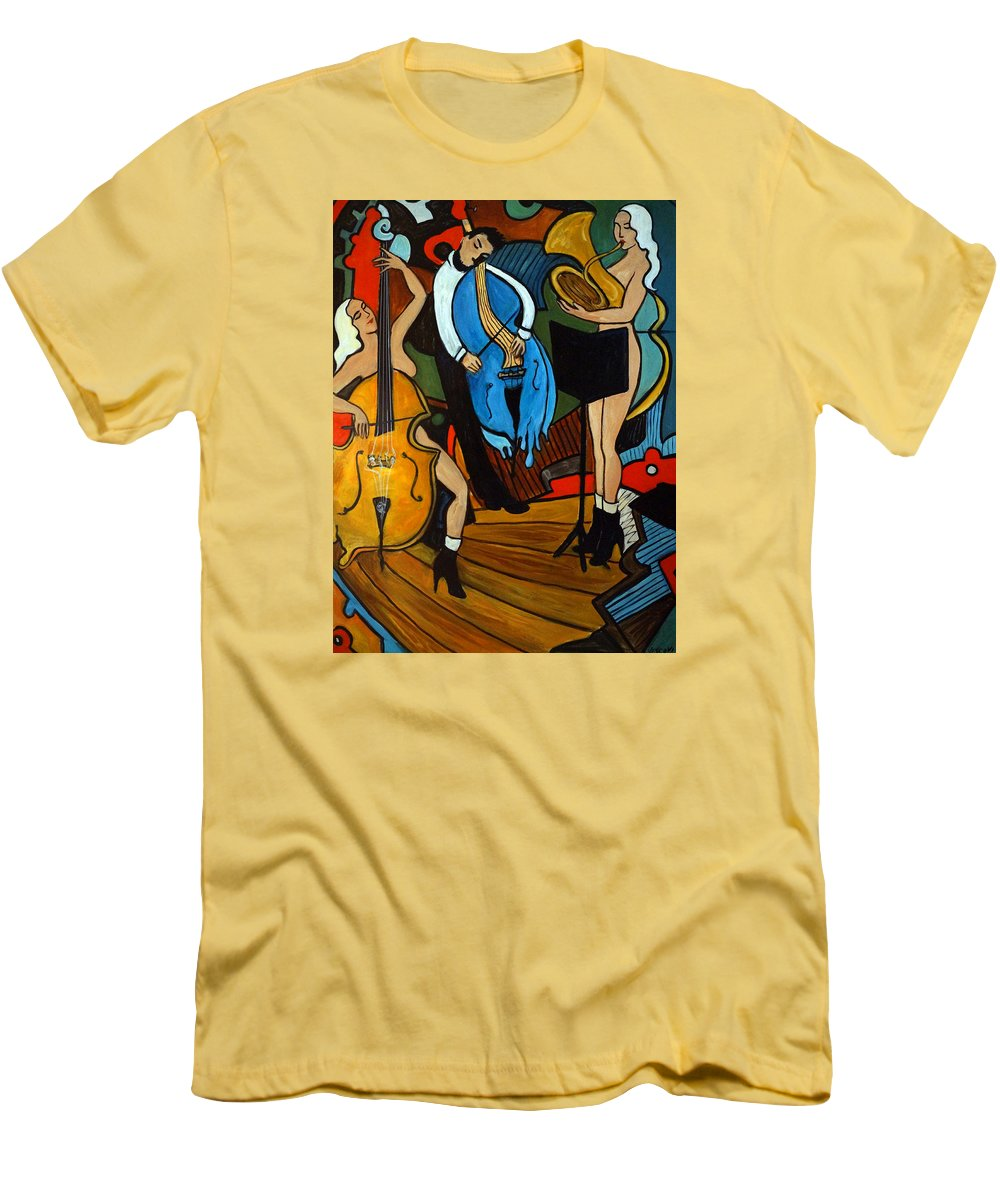 Musician Abstract Men's T-Shirt (Athletic Fit) featuring the painting Melting Jazz by Valerie Vescovi