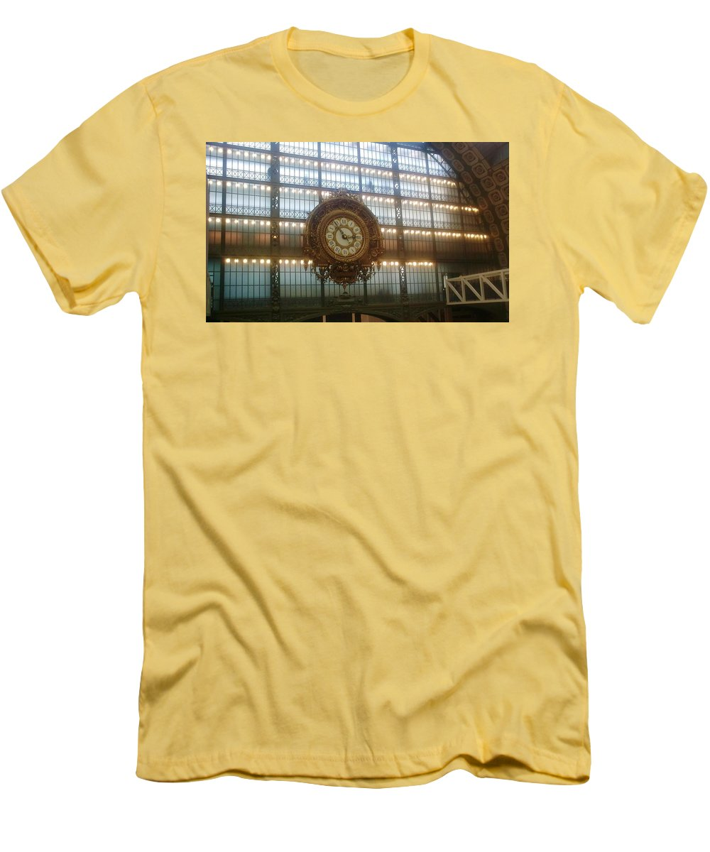 Museum Men's T-Shirt (Athletic Fit) featuring the photograph Museum D'orsay Clock by Valerie Ornstein