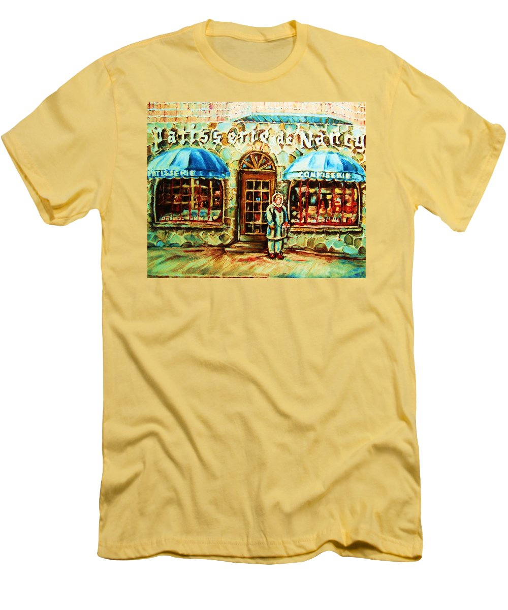 Bakery Shops Men's T-Shirt (Athletic Fit) featuring the painting Nancys Fine Pastries by Carole Spandau