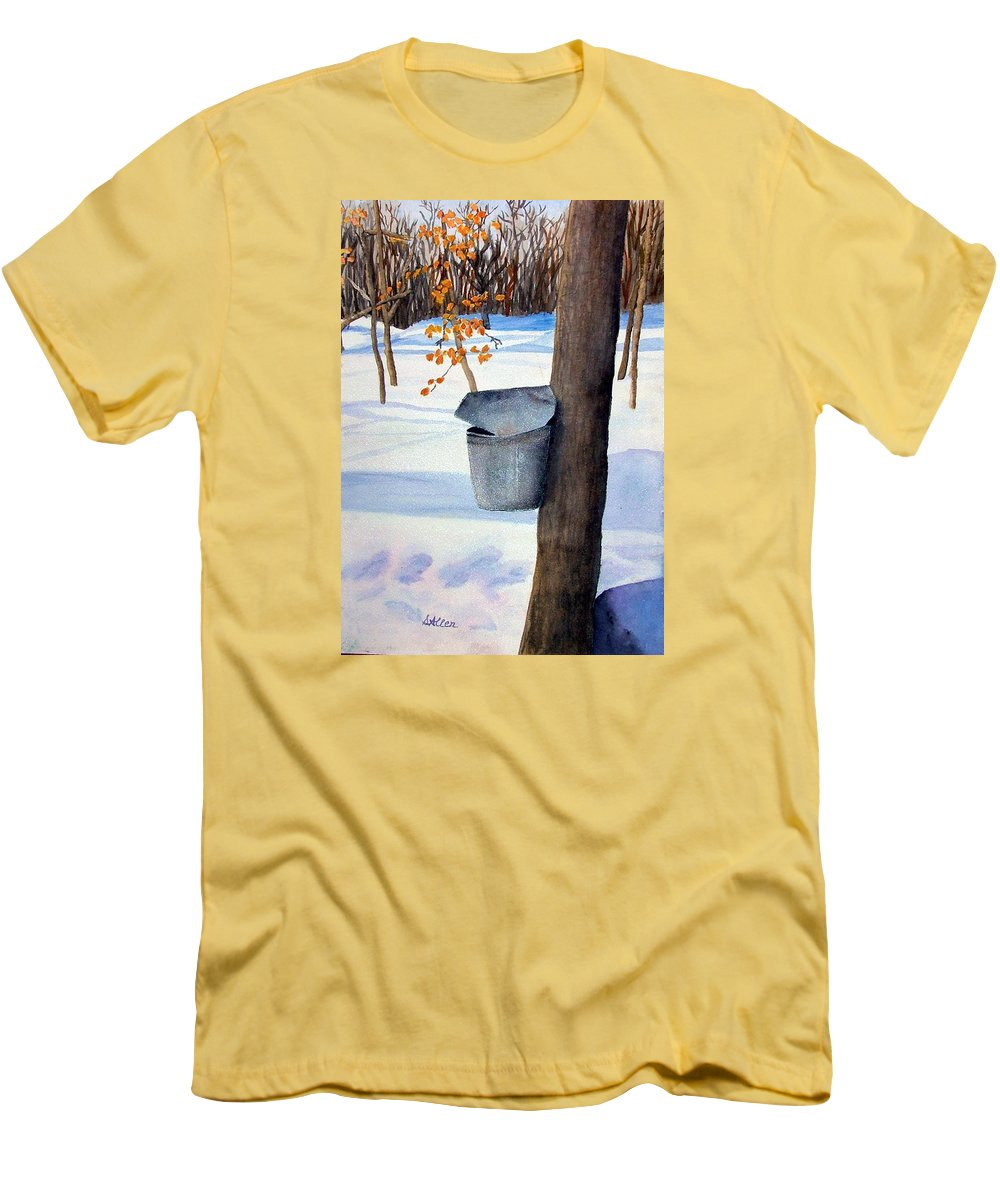 Sap Bucket. Maple Sugaring Men's T-Shirt (Athletic Fit) featuring the painting Nh Goldmine by Sharon E Allen