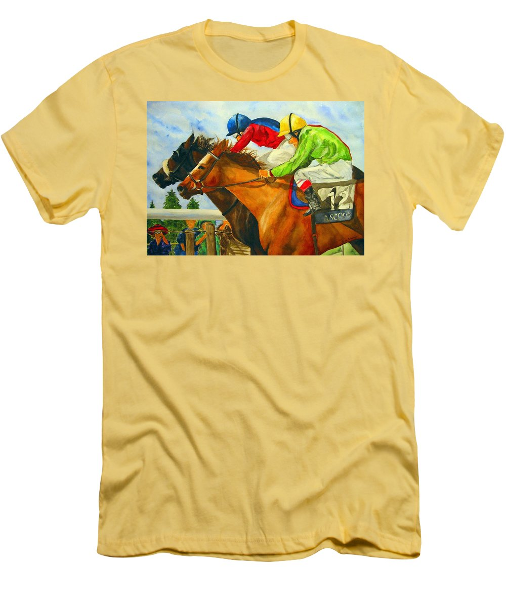 Horse Men's T-Shirt (Athletic Fit) featuring the painting Nose To Nose by Jean Blackmer