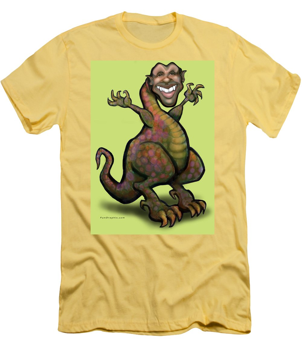 Barack Obama Men's T-Shirt (Athletic Fit) featuring the greeting card Obama Saurus Rex by Kevin Middleton