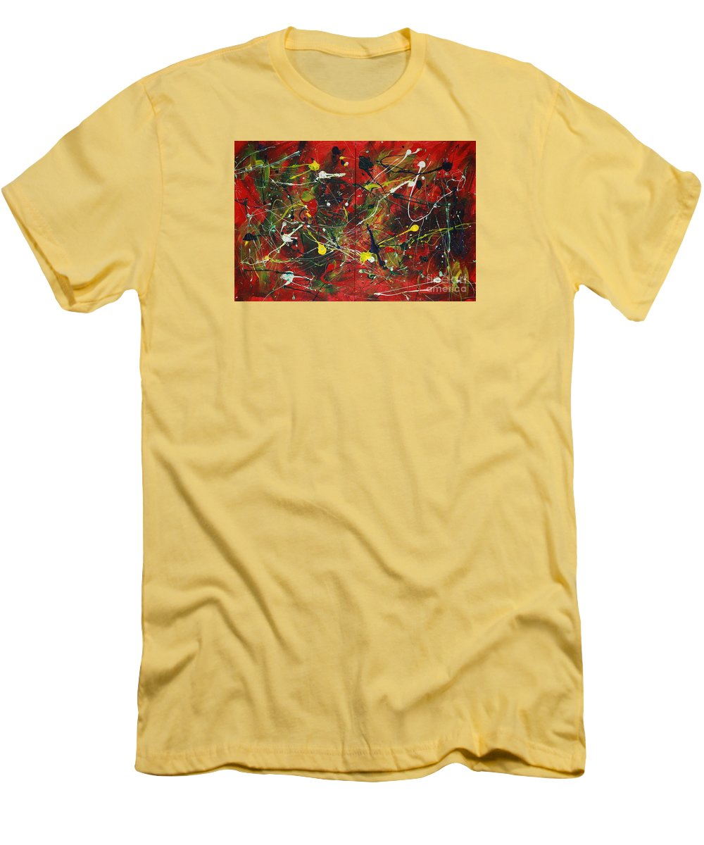 Splatter Men's T-Shirt (Athletic Fit) featuring the painting On A High Note by Jacqueline Athmann