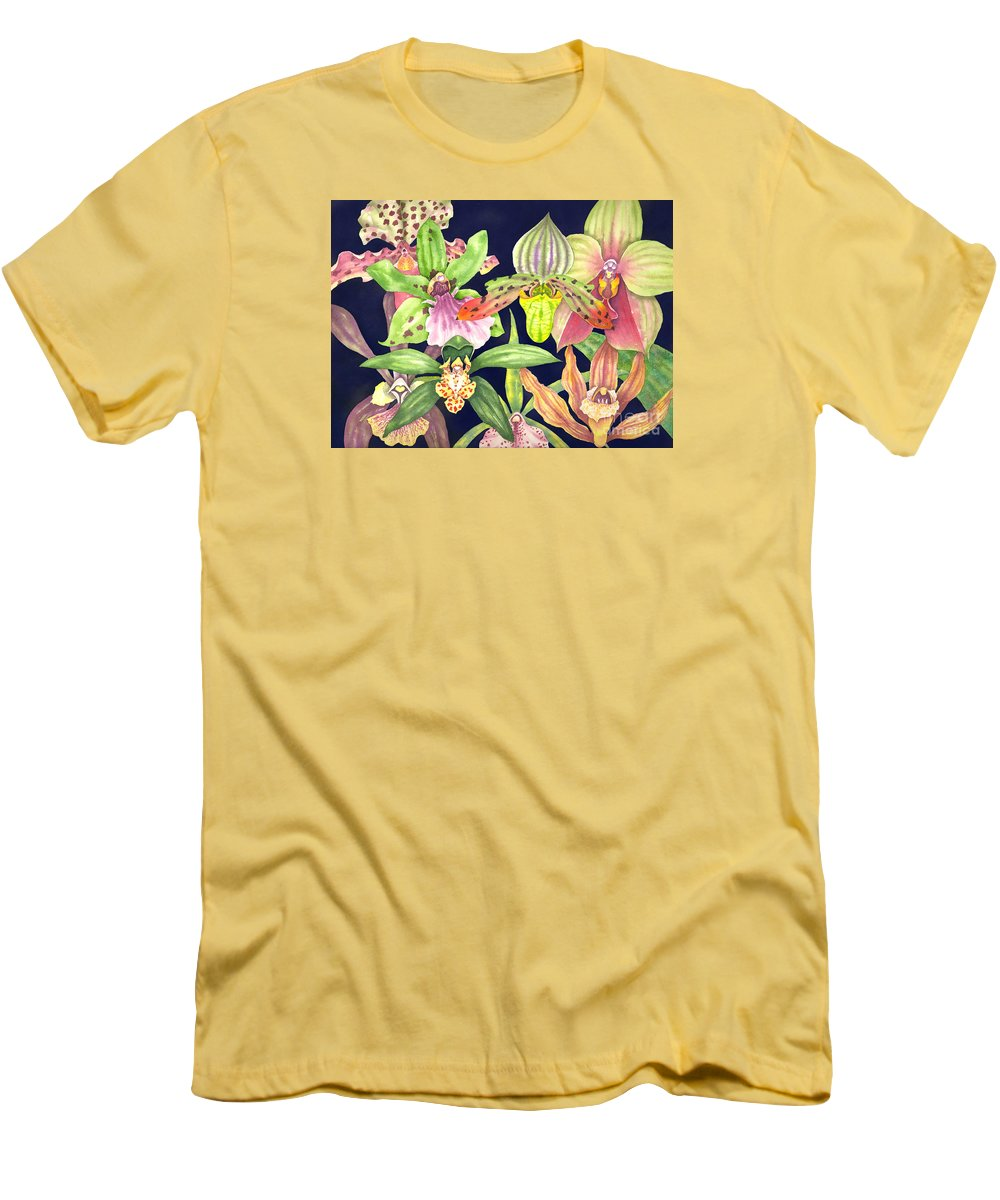 Orchids Men's T-Shirt (Slim Fit) featuring the painting Orchids by Lucy Arnold