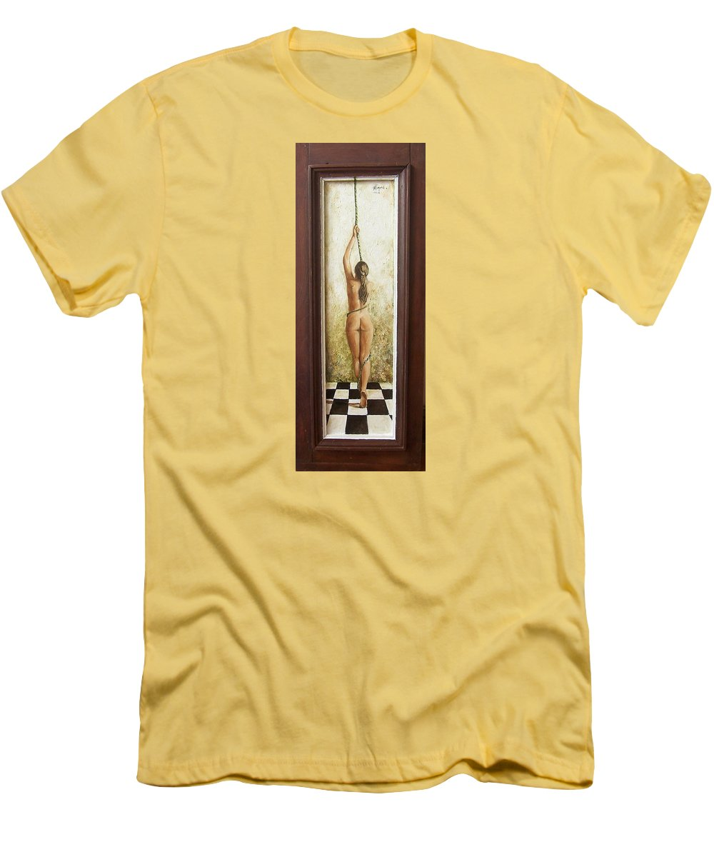 Figurative Men's T-Shirt (Athletic Fit) featuring the painting Out Of Chess by Natalia Tejera