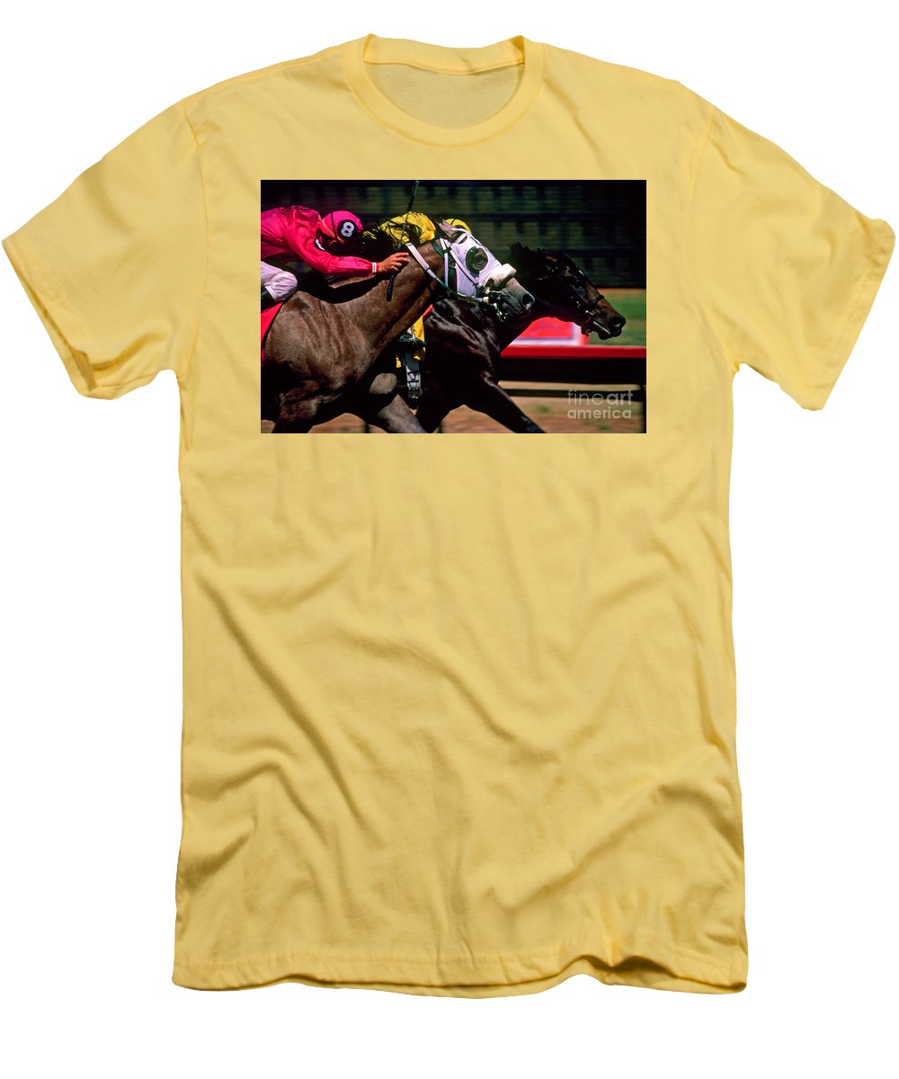 Horse Men's T-Shirt (Athletic Fit) featuring the photograph Photo Finish by Kathy McClure