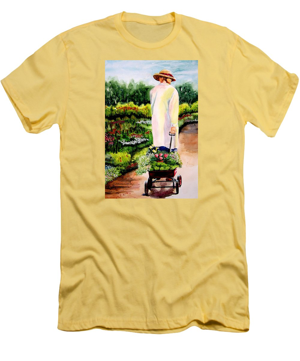 Garden Men's T-Shirt (Athletic Fit) featuring the painting Planting Plans by Karen Stark