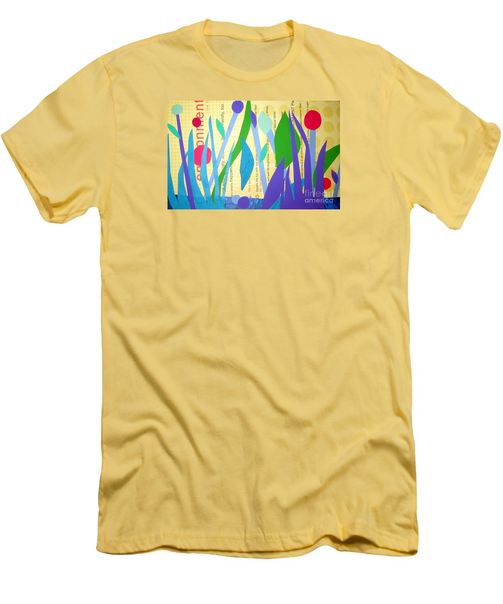 Landscape Men's T-Shirt (Athletic Fit) featuring the mixed media Pond Life by Debra Bretton Robinson