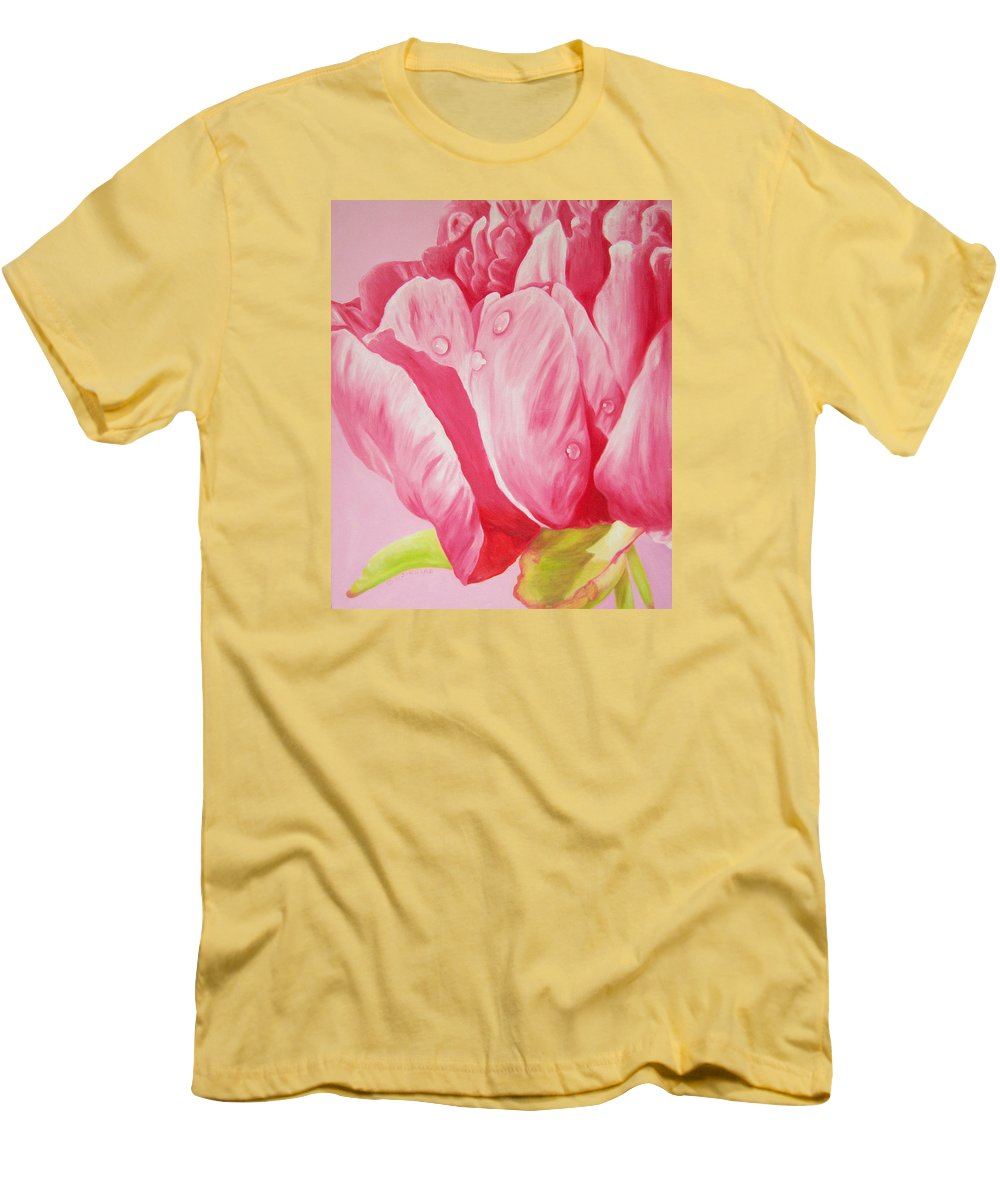 Fine Art Men's T-Shirt (Athletic Fit) featuring the painting Prints Art For Sale Floral Oil Painting Pink by Diane Jorstad