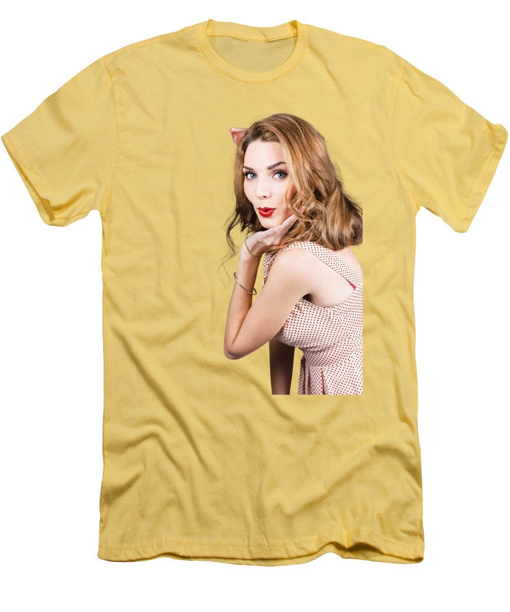 Quirky Portrait Of A Posing 50s Girl In Pinup Style T-Shirt for Sale ...