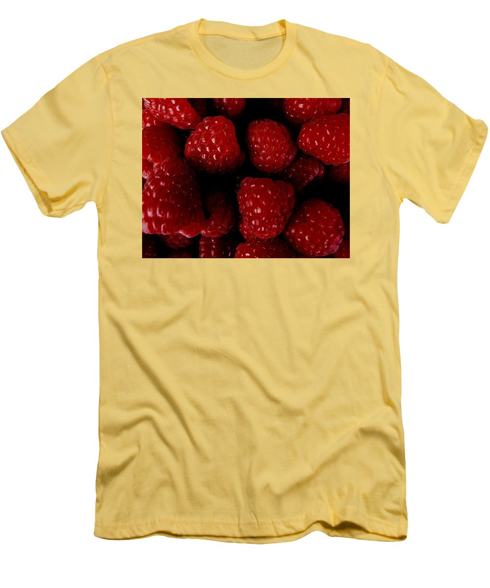 Raspberries Men's T-Shirt (Athletic Fit) featuring the photograph Raspberries by Valerie Ornstein