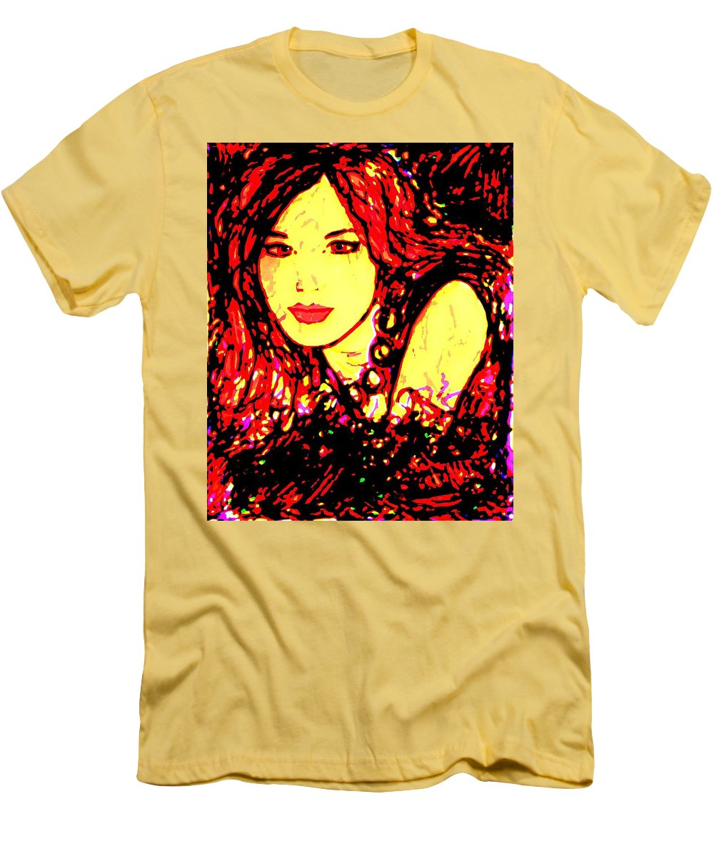Woman Men's T-Shirt (Athletic Fit) featuring the painting Red Flirt by Natalie Holland