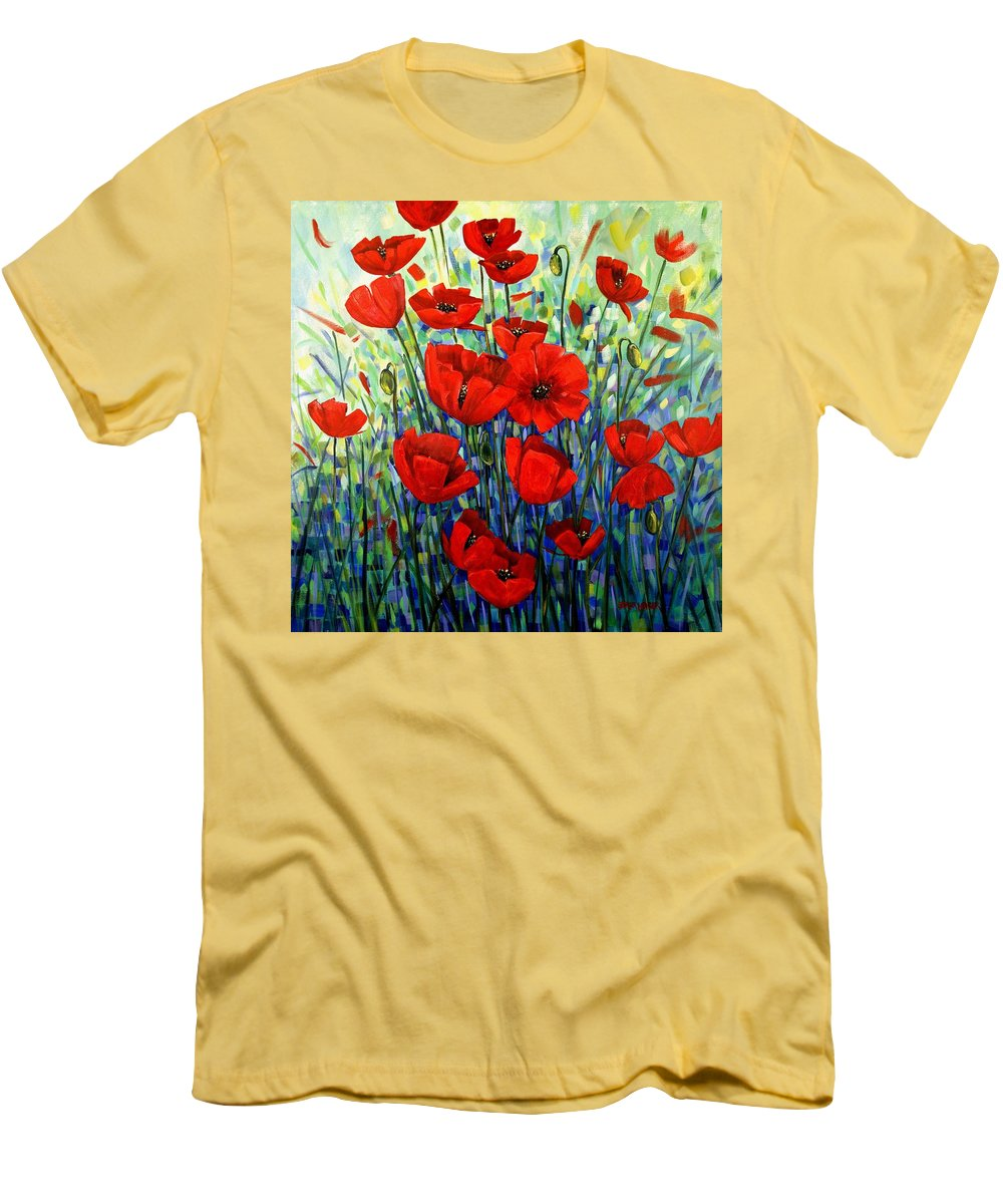 Floral Men's T-Shirt (Athletic Fit) featuring the painting Red Poppies by Georgia Mansur