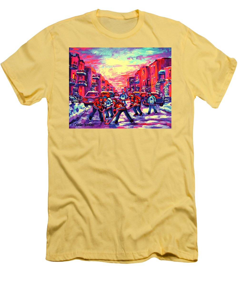 Hockey Game Men's T-Shirt (Athletic Fit) featuring the painting Red White And Blue by Carole Spandau