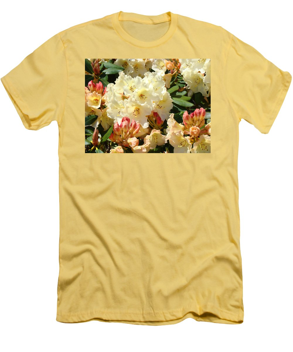 �azaleas Artwork� Men's T-Shirt (Athletic Fit) featuring the photograph Rhodies Creamy Yellow Orange 3 Rhododendrums Gardens Art Baslee Troutman by Baslee Troutman