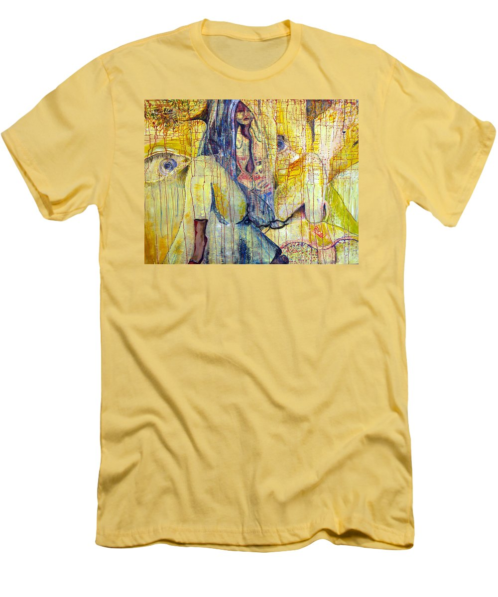 Portrait Men's T-Shirt (Athletic Fit) featuring the painting Roots by Peggy Blood