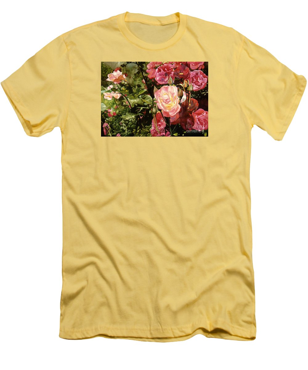 Watercolor Men's T-Shirt (Athletic Fit) featuring the painting Rose Garden by Teri Starkweather