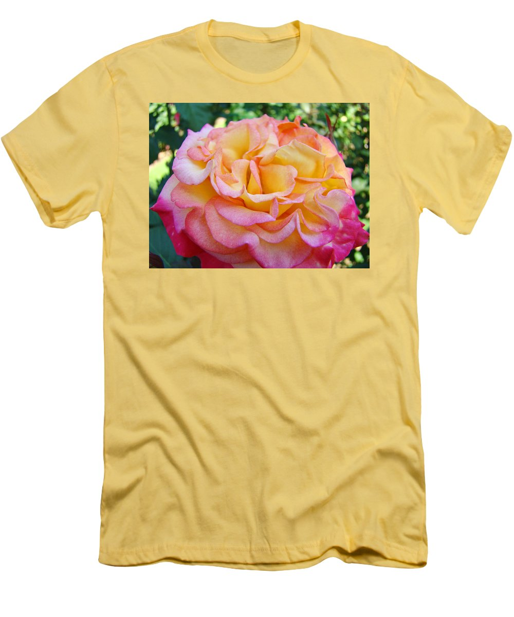 Rose Men's T-Shirt (Athletic Fit) featuring the photograph Rose Pink Yellow Rose Flower 2 Rose Garden Giclee Prints Baslee Troutman by Baslee Troutman