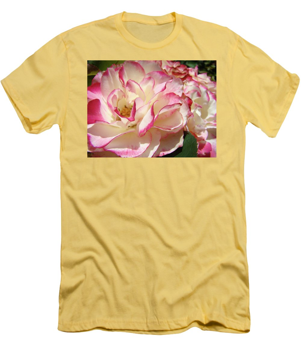 Rose Men's T-Shirt (Athletic Fit) featuring the photograph Roses Pink White Rose Flowers 4 Rose Garden Artwork Baslee Troutman by Baslee Troutman