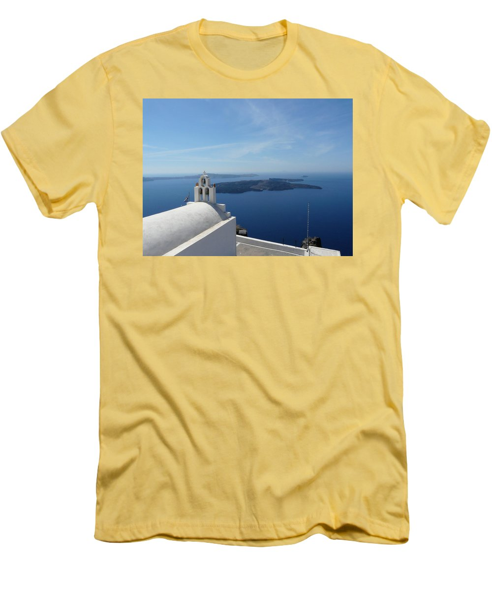 Landscape Men's T-Shirt (Athletic Fit) featuring the photograph Santorini Greece by Valerie Ornstein