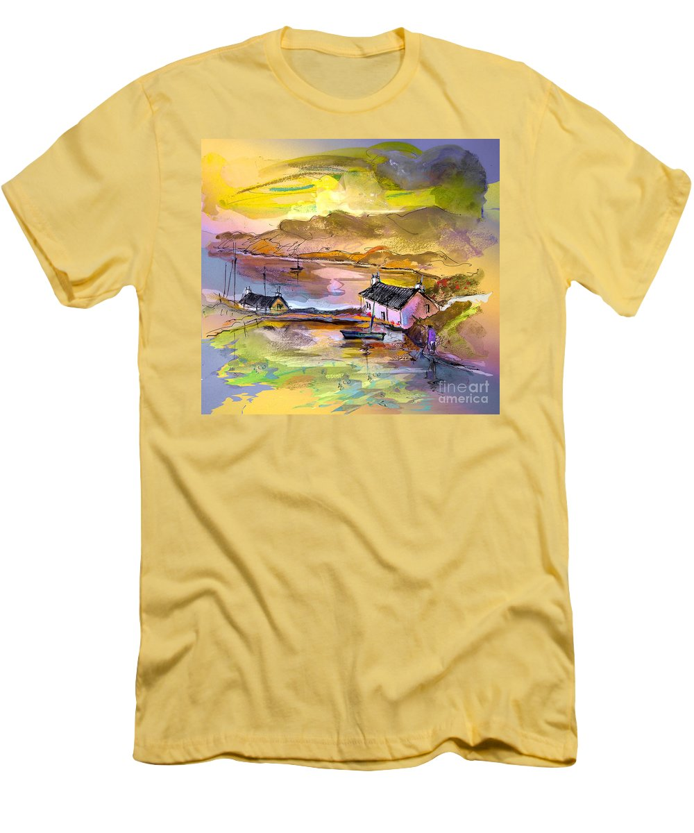 Scotland Paintings Men's T-Shirt (Athletic Fit) featuring the painting Scotland 11 by Miki De Goodaboom