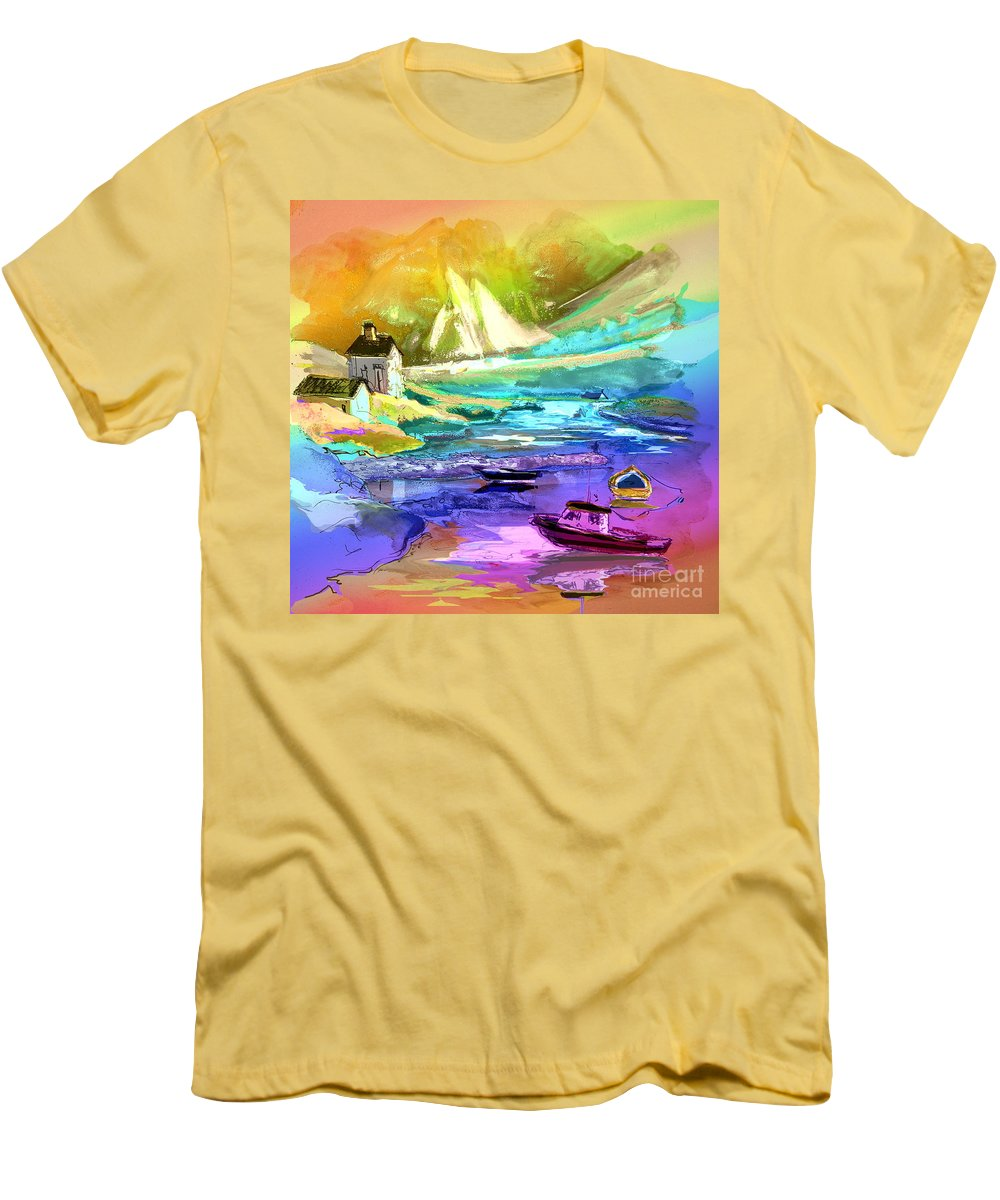 Scotland Paintings Men's T-Shirt (Athletic Fit) featuring the painting Scotland 15 by Miki De Goodaboom