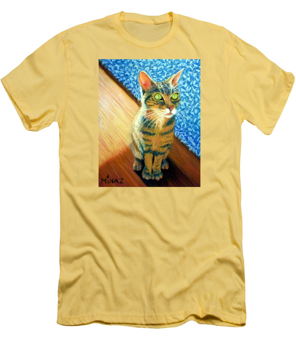 Cat Men's T-Shirt (Athletic Fit) featuring the painting She Wants To Be Famous by Minaz Jantz