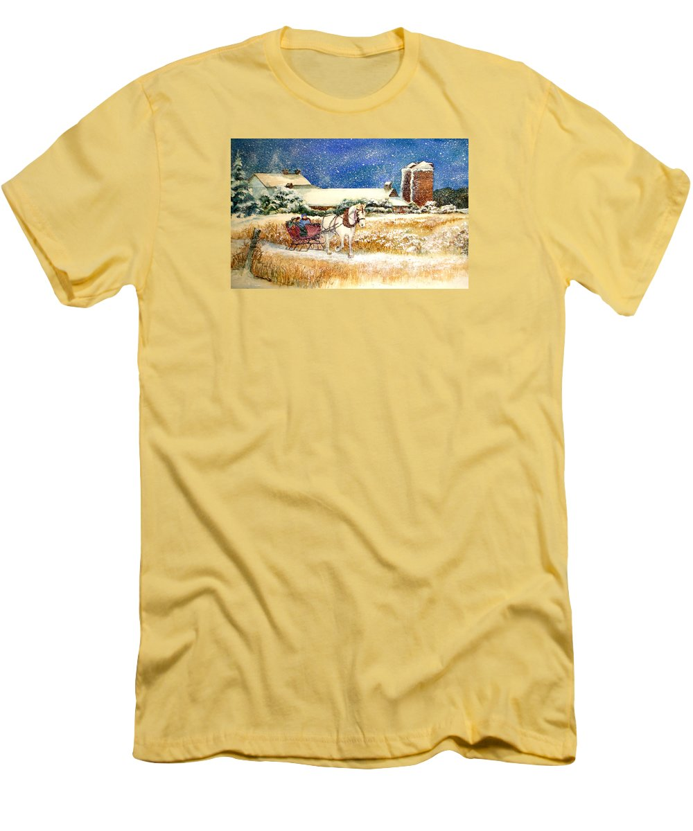 Watercolor;sleigh;horse;barn;silos;winter;snow;sleigh Ride;christmas; Men's T-Shirt (Athletic Fit) featuring the painting Sleigh Ride At Brickers by Lois Mountz