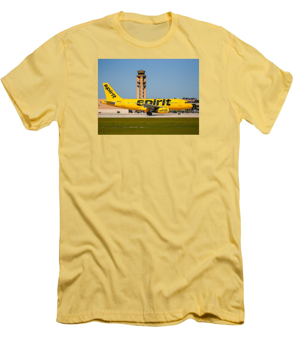 Airplane Men's T-Shirt (Athletic Fit) featuring the photograph Spirit Airline by Dart and Suze Humeston