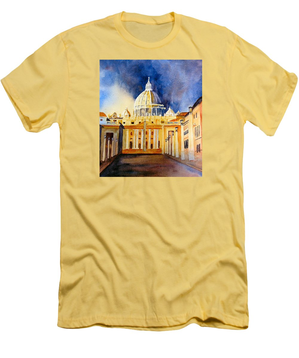 Vatican Men's T-Shirt (Athletic Fit) featuring the painting St. Peters Basilica by Karen Stark