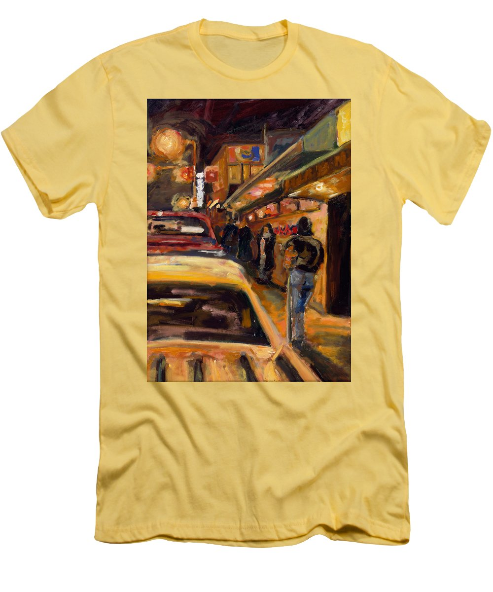 Rob Reeves Men's T-Shirt (Athletic Fit) featuring the painting Steb's Amusements by Robert Reeves