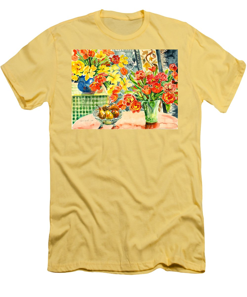 Watercolor Men's T-Shirt (Athletic Fit) featuring the painting Studio Still Life by Alexandra Maria Ethlyn Cheshire