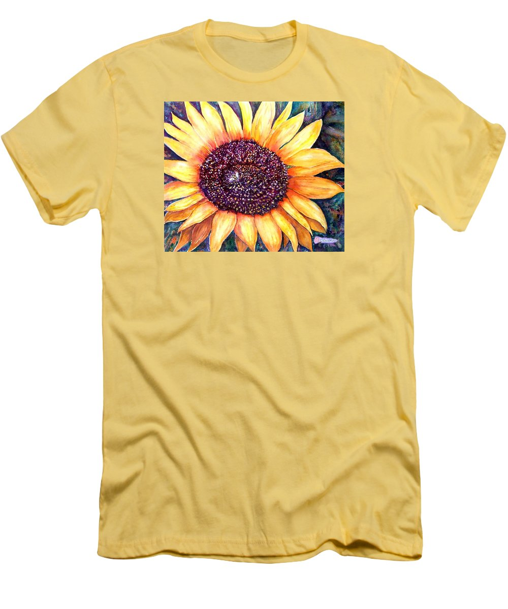 Sunflower Men's T-Shirt (Athletic Fit) featuring the painting Sunflower Of Georgia by Norma Boeckler