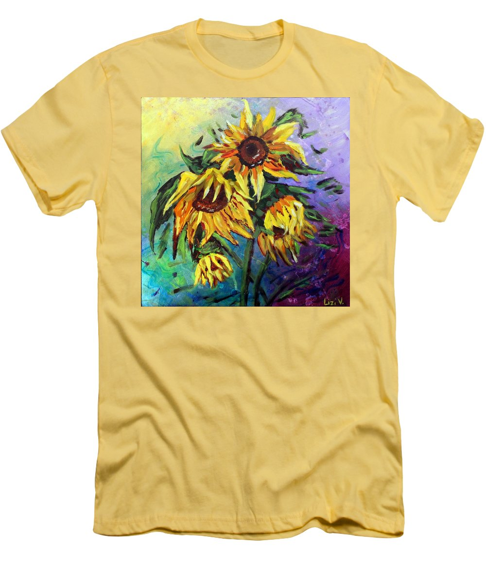 Art Men's T-Shirt (Athletic Fit) featuring the painting Sunflowers In The Rain by Luiza Vizoli